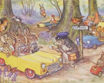 Vintage Postcard, Molly Brett, Medici Society, Woodland Car Park, Dressed Animals, Paper Collectibles, Little Bunnies, Woodland Art