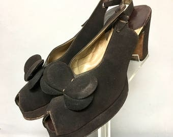 Vintage 40's PLATFORMS,  PeeP Toe and Ankle Strap Shoes / Brown SUEDE 1940's High Heel Shoes, size 9 aa