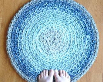 Crochet Rug Bathmat Gray Blue Ombre
