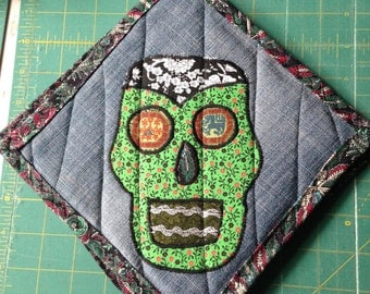 Green and Black Sugar Skull Hot Pads