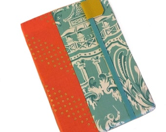 Kindle Paperwhite cover - Chinoiserie Toile - coral and mint - kindle cover - fits Touch - hardcover eReader case