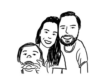 Custom Digital Drawing - Drawing of you or your family! - Holiday Cards - Use as profile pictures on Facebook, Instagram, Twitter, Linkedin