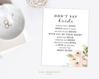 Bridal Shower Ring Game - Don't say BRIDE - Bridal Shower Activity - TIFFANY Collection - Instant Download PDF File