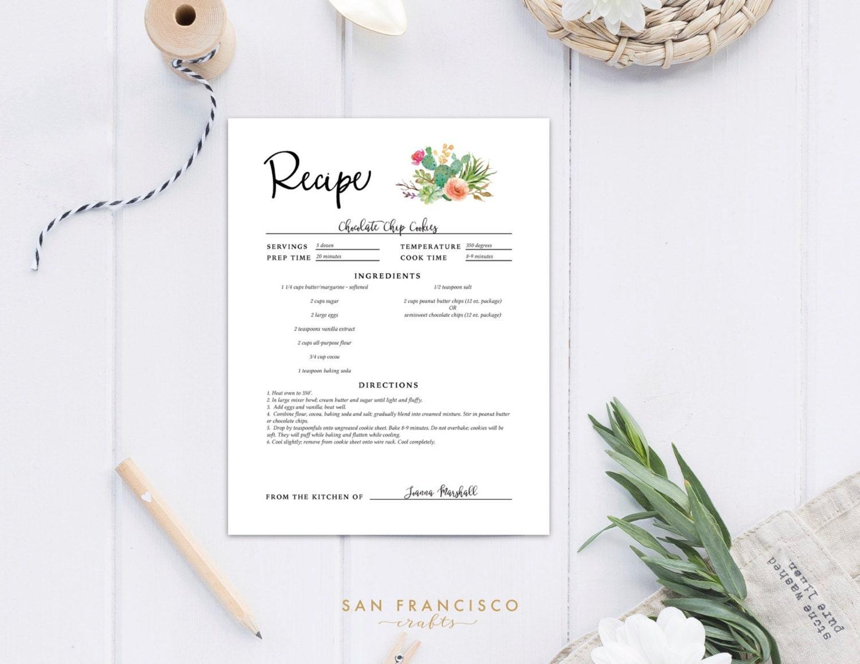 editable recipe sheets recipe binder insert us letter cactus