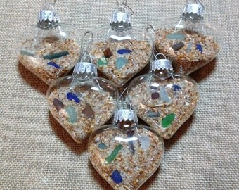 Heart Shaped Sand and Sea Glass Ornaments-Set of 6