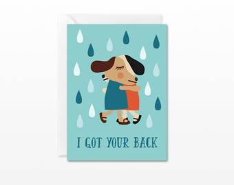 I Got Your Back Mini Card - Gift Enclosure Card - Dog Hugs - Friendship, Divorce, Cancer, Get Well, Tough Times, Sympathy Card