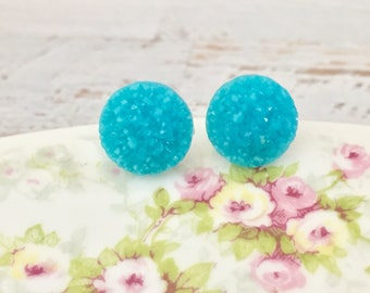 Aqua Druzy Studs, Druzy Stud Earrings, Affordable Jewelry, Aqua Stud Earrings, Surgical Steel Studs (SE9)