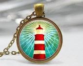 Lighthouse Pendant, Lighthouse Necklace, Lighthouse Jewelry, Lighthouse Art Pendant, Lighthouse Nautical Art Pendant, Bronze, Silver, 181