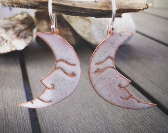 "Happy Nappy Moon Earrings - Copper + Enamel - ""White"""