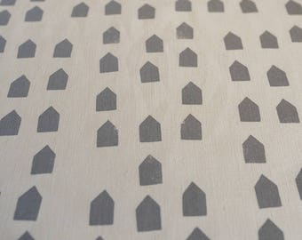 Fabric panel - Houses in mushroom grey ink on hemp organic cotton basecloth. Textiles designed and screen printed in Melbourne.