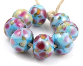 Dancing Queen - Handmade Artisan Lampwork Glass Beads 8mmx12mm - Blue, Pink - SRA (Set of 8 Beads)