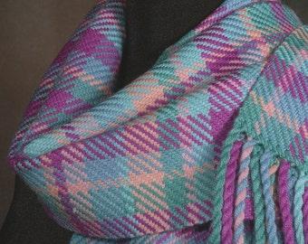 Plaid scarf / pastel / handwoven merino wool / winter scarf