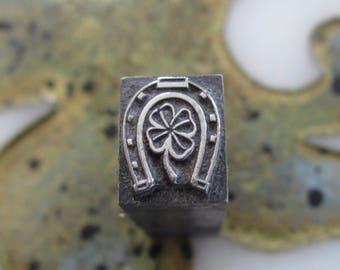 Horseshoe With Shamrock Vintage Letterpress Printing Block