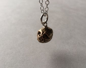 Adopt a Tiny Pet Guinea Pig Bronze Charm Hand Wired On Sterling Silver Necklace