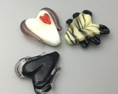 Lampwork Glass Heart Beads Black and White