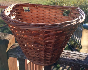Wicker Vintage Bicycle Basket Half Circle Shape Perfect Condition Natural Color Woven Basket Storage Groceries Beach Cruiser Basket