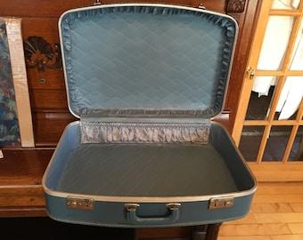 Vintage Blue Suitcase Hard Sided Standard Size Travel Luggage Hand Luggage 1960's Mid Century Blue Satin Interior Pocket