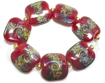 Handmade Glass Lampwork  Beads, Squeezed Red Raku Twist