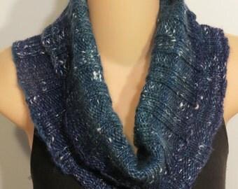 Hand Knit Wool Silk Cowl Scarf purple blue teal