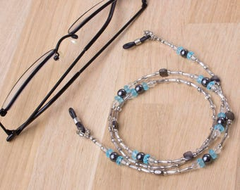 Beaded glasses chain with hematite, blue and silver beads | Eyeglass chain | Spectacle holder | Eyewear accessories | Gemstone glasses cord