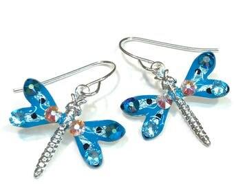 Dragonfly Earrings Sparkling Aqua