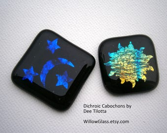 Dichroic Fused Glass Cabochons, Moon and Stars OR Starburst Dichroic Cabochon,  Glass Cab, Willow Glass
