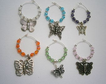 6 Butterfly Wine Charms, Beaded Wine Charms Austrian Crystals, Willow Glass