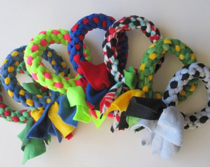 Fleece dog tug chew fetch ring toy