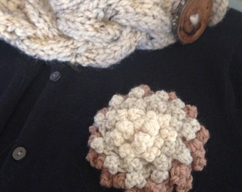 Statement Flower Brooch Corsage Brown Ivory Linen Multicolor Dahlia with Felted Pin Back Large Crochet Flower Pin