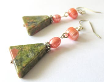 Unakite Gemstone Earrings, Peach Freshwater Pearls, Green Gemstones, Geometric Triangles, Sterling Silver, Unique Gift for Someone Special