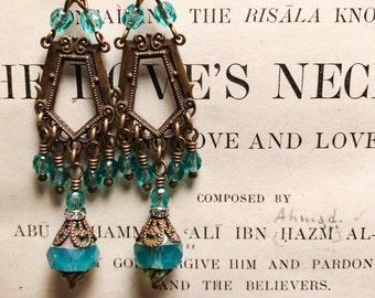 Lorena Antique Brass Vintage Style Art Nouveau Inspired Beaded Chandelier Earrings in Aqua