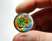 Glass Cabochon - Grateful Dead Dancing Bear Steal Face Head Design 10  - for Jewelry and Pendant Making