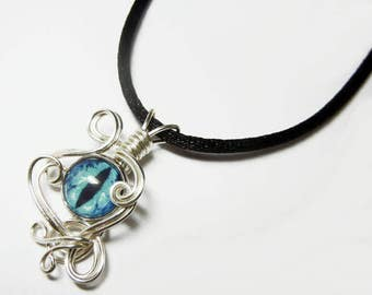 Wire Wrap Handmade Blue Glass Evil Dragon Eye Pendant with Necklace