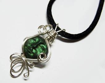 Wire Wrap Polymer Moon Goddess Face Bead Pendant