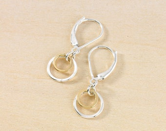 Two Silver and Gold Circles on Leverback Earwires, Sterling and Gold Filled Modern Minimal Jewelry, Small Everyday Jewelry by Freshie & Zero