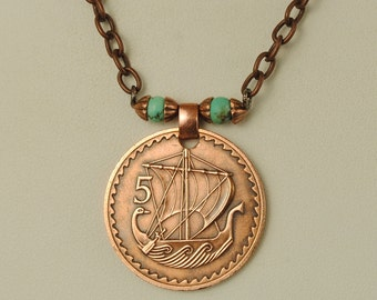 Cyprus Coin Jewelry Necklace Ancient Ship 1963
