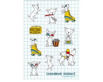 Chihuahua Buddies Vinyl Stickers Sheet