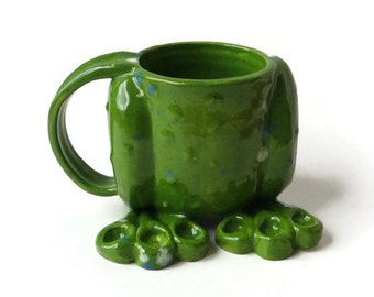 Ceramic Mug - Frog Mug - Ceramic Mug with Frog Legs - Frog Mug with Warts - 8oz - Ready to Ship