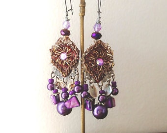 Purple Drops Earrings, Beaded, Shell, Antique Embroidery, Gypsy Earrings, Bohemian Gypsy, Boho Earrings, Gorgeous