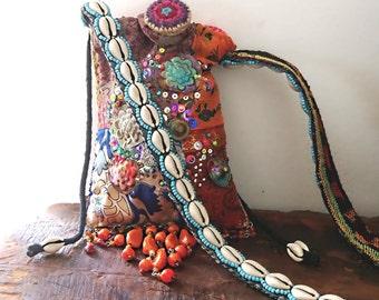 Saffron Purse, Bag, Small Shoulder Bag, Vintage Textiles, Pouch, Patchwork, Quilted, Pretty Purse, Pouch, Boho