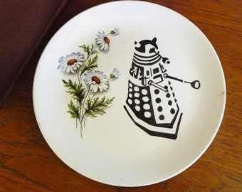 Dalek Dr Who hand painted vintage dinner plate with hanger recycled art recycled pop culture uk tv display SALE