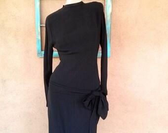 Vintage 1940s Dress Black Rayon 40s Bias Cut Goth US2 B34 W 25