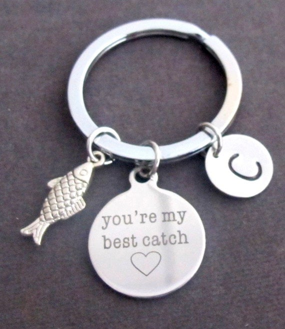 You're my best catch, Fish, Hook with Initial,Lovers, Love, Key chain, Best friend,Sister Gift,Love,Catch, Fish, Keychain, Free Shipping USA