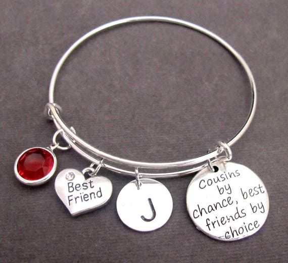 Cousin Bracelet Jewelry, Cousins by Chance Friends by Choice, Cousin Bangle, Cousin Gift, Personalized Cousin Bracelet, Free Shipping In USA