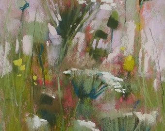 Queen Annes Lace Intimate Wildflowers Spring Original Pastel Painting Karen Margulis