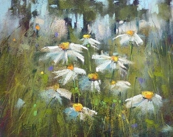 Field of DAISIES Wildflowers 8x10  Original Pastel Painting