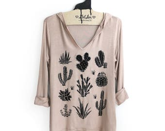 Large -Tan Soft Thin Hoodie Tunic Top with Cactus Screen print