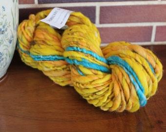 Handspun yarn, super bulky, Merino wool, alpaca, linen and sparkle, 7.3oz - electric blue banana