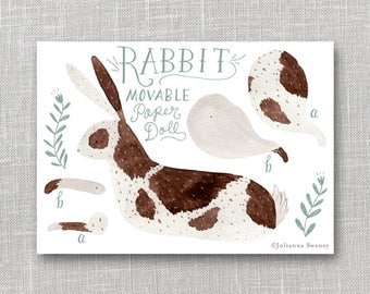 Rabbit Articulated Paper Doll, Illustrated Print, Puppet, Craft, Decoration, Scrapbooking