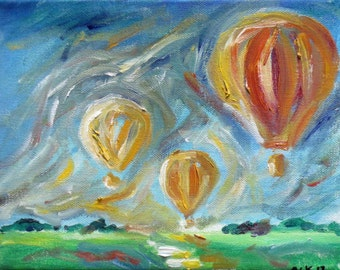 Hot Air Balloons blue sky summer original oil painting 10 x 8 by Angie